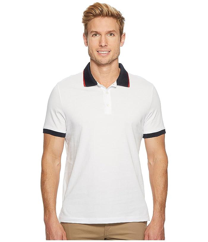 Perry Ellis Tipped Collar Pima Cotton Polo (Bright White) Men