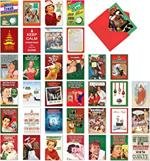 Humorous Holidays - Box of 36 Retro Christmas Cards with Envelopes (4.63 x 6.75 Inch) - Assortment of Funny Vintage Holiday Greetings - Adult Merry Xmas Notecard Set AC7140XSG-B1x36