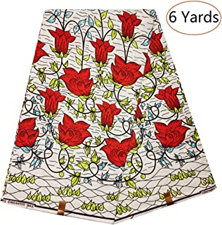 Dexuelan Ankara African Fabric African Super Wax Print Fabric with Print of The Flower for Sewing Dress Clothing Designs