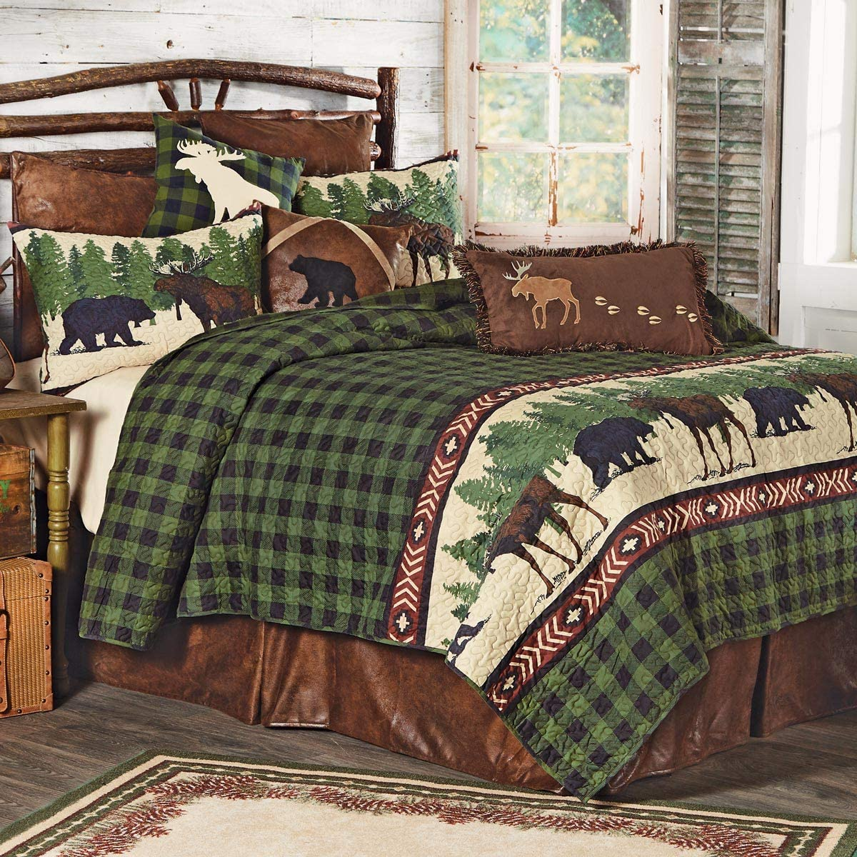 BLACK FOREST DECOR Bear Moose Spring new work - New York Mall Queen Quilt Arrows Set
