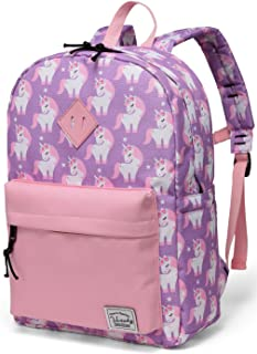 Backpack for Little Girls,Vaschy Preschool Backpacks for Kindergarten with Chest Strap Pink Unicorn.