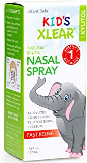 Xlear Kid's Nasal Spray with Xylitol, All-Natural Saline Nasal Spray for Sinus Rinse & Sinus Relief 0.75 fl oz (2 Pack)