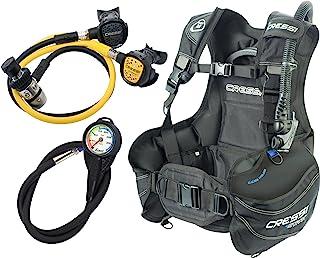 Cressi Set de Principiantes para Buceo–Chaleco hidrostático (BCD) + regulador de 1ª Etapa AC2+ 2ª Etapa Compacto + Boquilla de Emergencia Octopus compacta + Instrumento medidor de la Presión