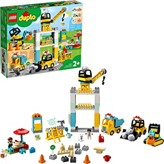 LEGO DUPLO Town Tower Crane & Construction 10933 building set, Preschool Toy for Toddlers 2+ years old (123 pieces)