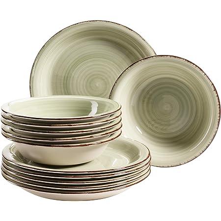 Set de assiettes en grès Mäser Série Bel Tempo Vert olive (Bel Tempo Ii).