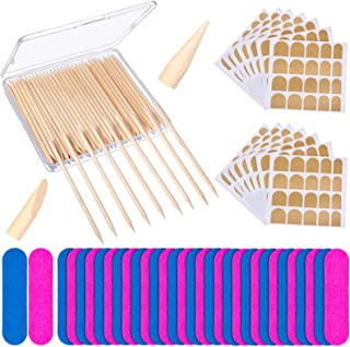 225 Pieces Nail Art Pedicure Tools, Include 100 Pieces Wooden Cuticle Sticks,100 Pieces Mini Nail Files Disposable and 25 ...