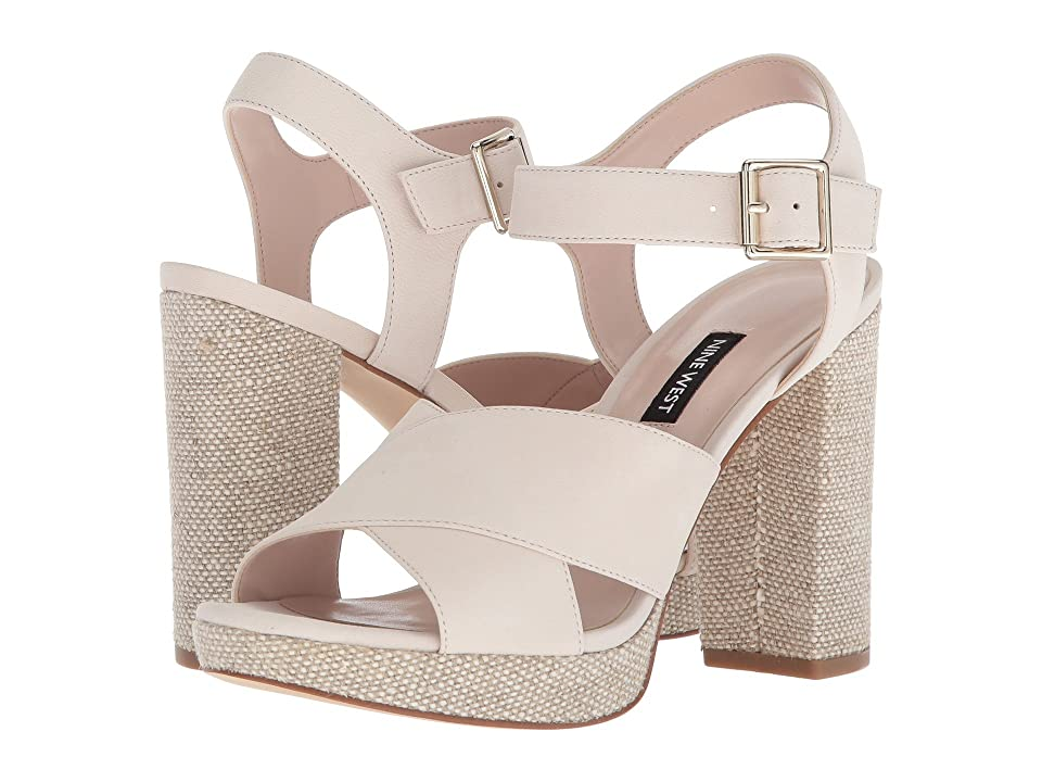 Nine West Jimar Platform Block Heel Sandal (Off-White Nubuck) Women
