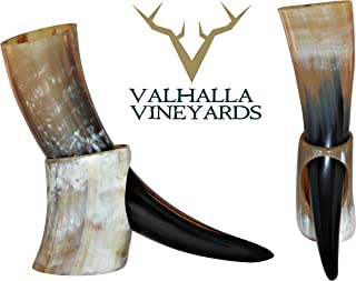 Natural Style Viking Drinking Horn with stand – Authentic Medieval Inspired Mug..