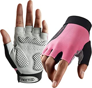 Weight Lifting Workout Gloves for Women, Well-Padded Palm & Stretchy Netted Back, Comfortable Rubber Grip Gym Gloves Breathable and Lightweight Exercise Bodybuilding Gloves (Female)