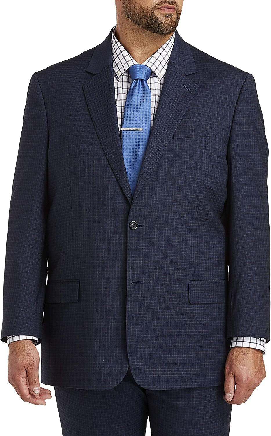DXL Gold Series Big and Tall Easy Stretch Grid Suit Jacket, Navy