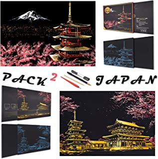 Rainbow Scratch Painting Paper By BOTEEN,City Series Night Scene,Scratch Painting Creative Gift,Scratchboard for Adult and Kids,with 4 Tools,Size:16''x11'' (Mount Fuji,Japan)