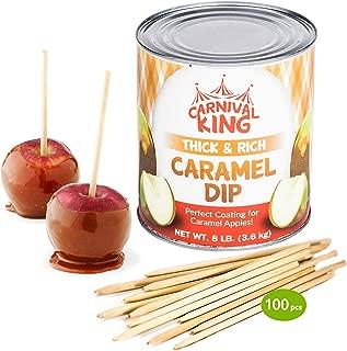 [8lb Can] Carnival King Caramel Apple Dip Bundle w/ 100pcs 4.5 Wood Apple Skewers - Includes 2 Funny Cusinium Coasters and Ebook