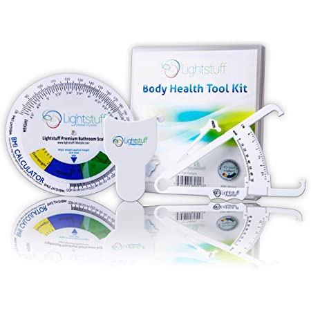 Body Fat Caliper, Body Tape Measure, BMI Calculator - Instructions for Skinfold Caliper and Body Fat Charts for Men and Women Included - Lightstuff Body Health Tool Kit
