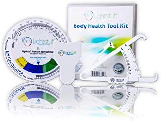 Lightstuff Body Health Tool Kit - Body Fat Caliper, Body Tape Measure, BMI Calculator - Instructions for Skinfold Caliper and Body Fat Charts for Men and Women Included