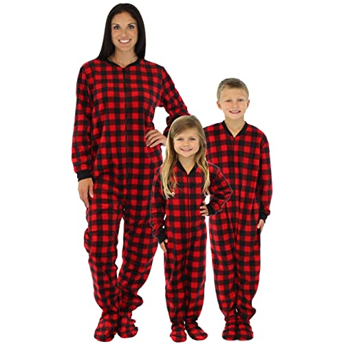 d8b243669b SleepytimePjs Family Matching Red Plaid Fleece Onesie PJs Footed Pajamas