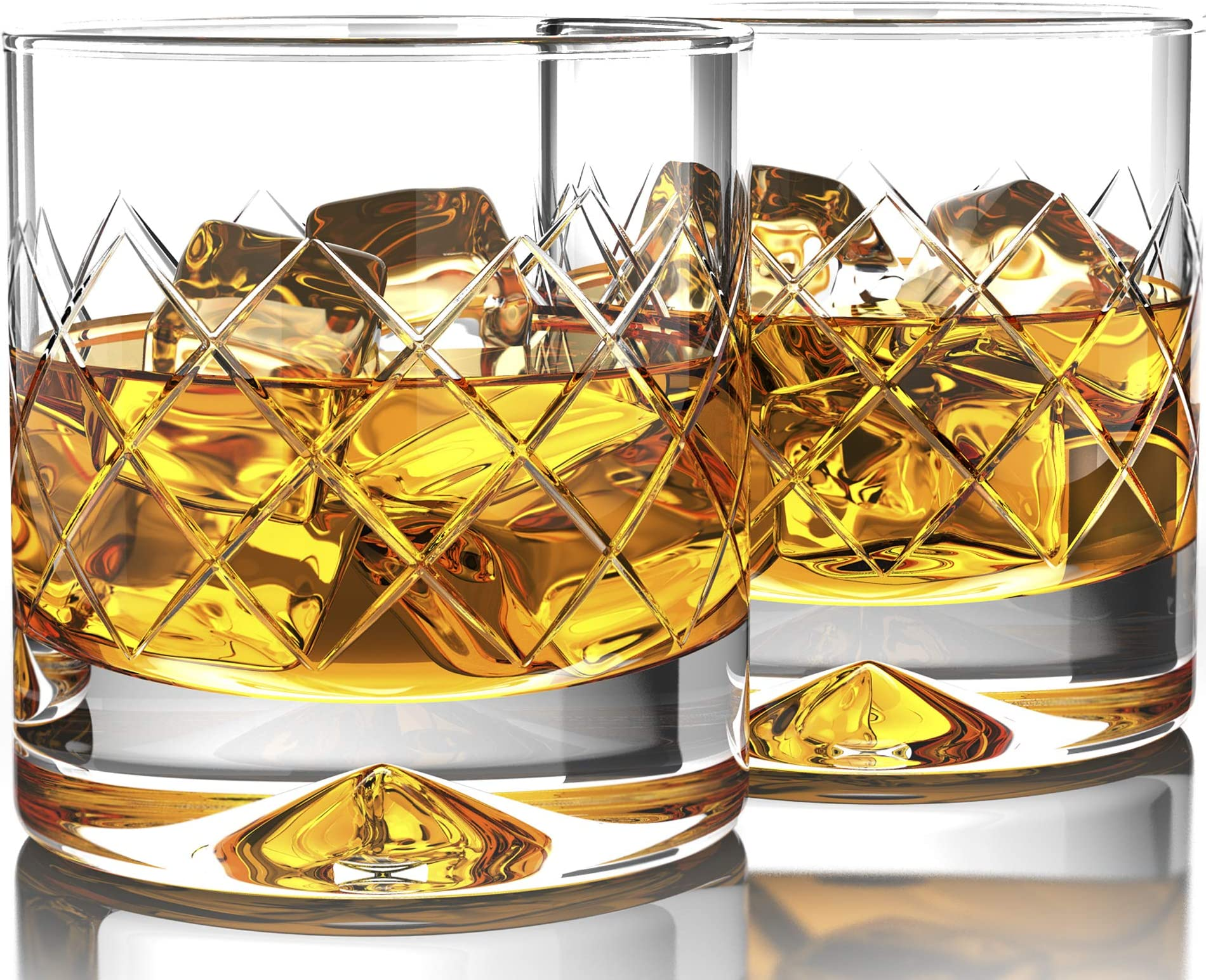 MOFADO Crystal Whiskey Glasses - DiamondEtch - 12oz (Set of 2) - Hand Blown Crystal - Thick Weighted Bottom Rocks Glasses - Perfect for Scotch, Bourbon, Manhattans, Old Fashioned Cocktails