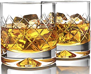 MOFADO Crystal Whiskey Glasses - DiamondEtch - 12oz (Set of 2) - Hand Blown Crystal - Thick Weighted Bottom Rocks Glasses