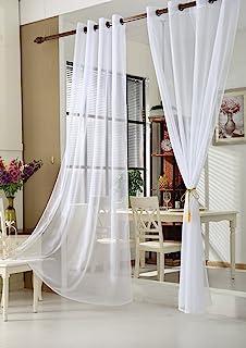 comprar comparacion WOLTU Cortinas Translucidas con Ojales Bufanda Moderna para salón habitación y Dormitorio adornar Ventana Anti-UV Respirab...