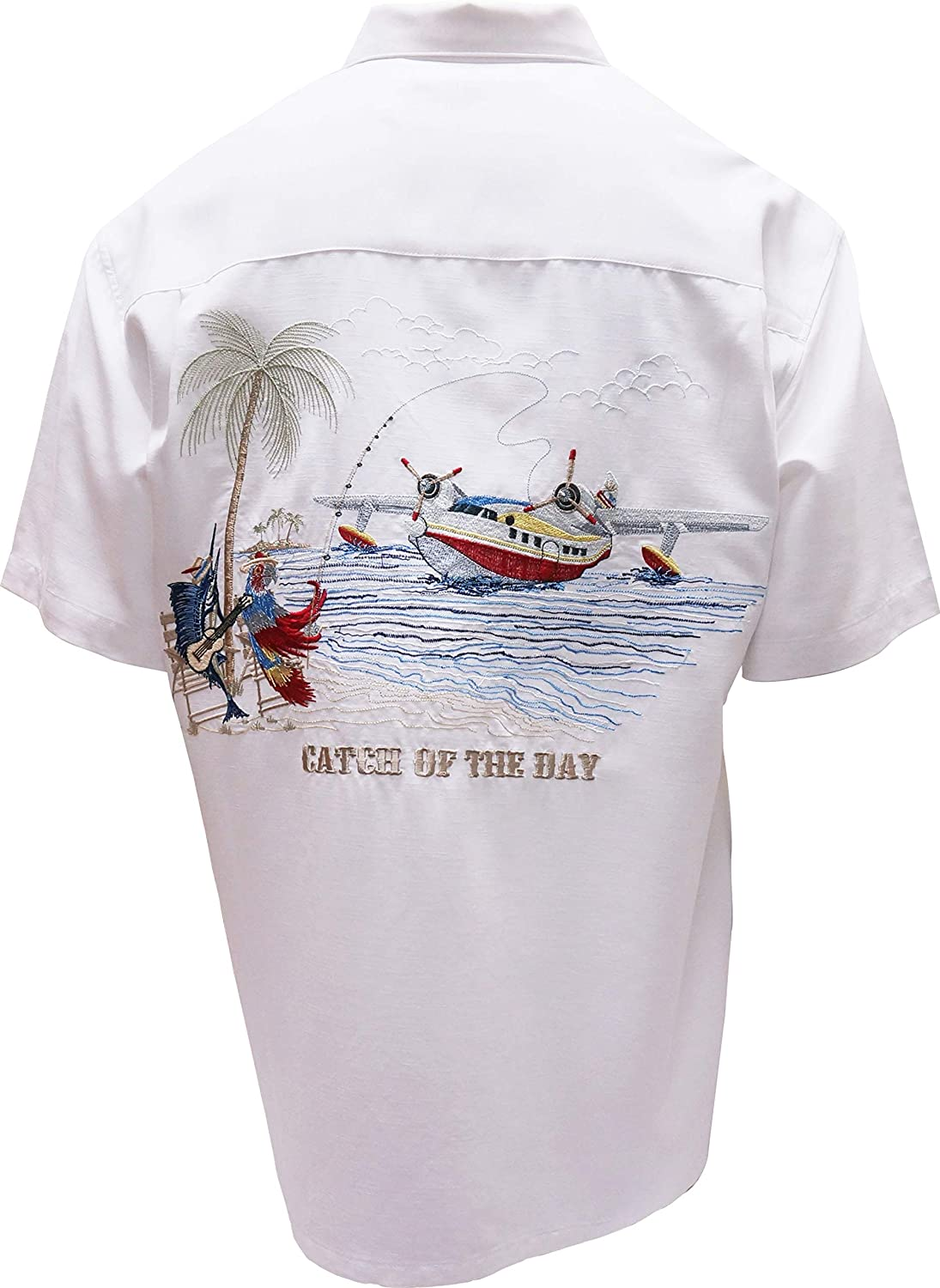 Bamboo Cay Mens Short Sleeve Catch of The Day Casual Embroidered Woven Shirt