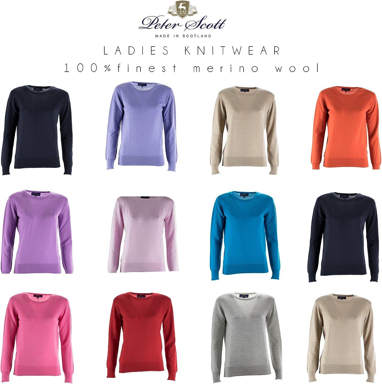 Peter Scott Knitwear Ladies Sweater 100 Finest Merino Wool Jumper Hand Made In Scotland Amazon Co Uk Clothing