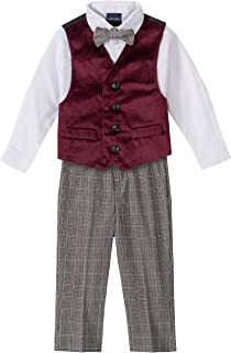 Baby Boys 4-Piece Set with Dress Shirts, Vests, Pants, and Bow Ties