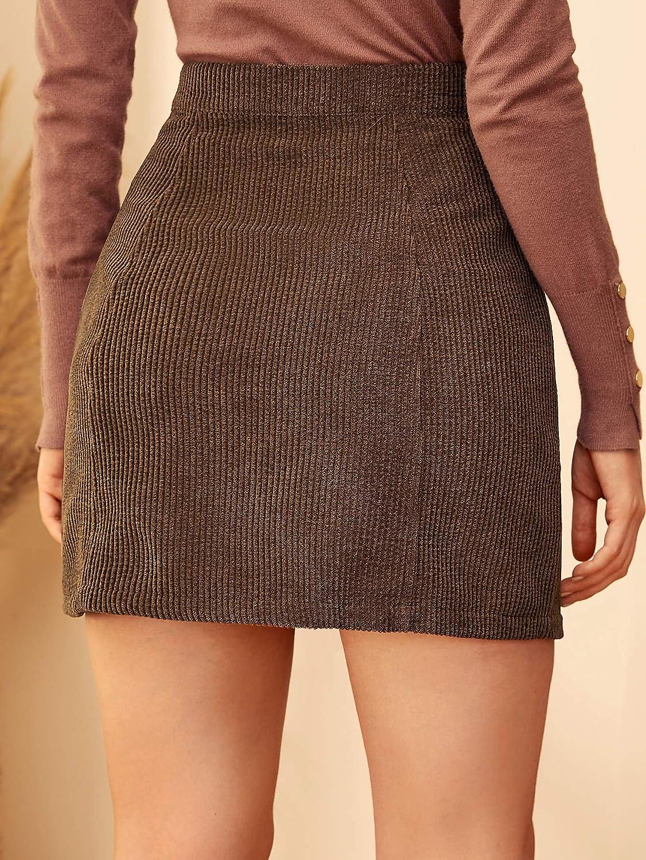 WDIRARA Womens Mid Waist Corduroy A-line Slim fit Button Casual Mini Skirt