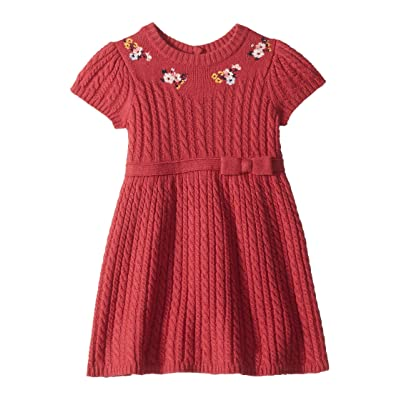 Janie and Jack Short Sleeve Embroidered Sweater Dress (Toddler/Little Kids/Big Kids) (Red) Girl