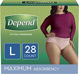 Depend FIT-FLEX Incontinence Underwear for Women, Disposable, Maximum Absorbency, Large, Blush, 28 Count