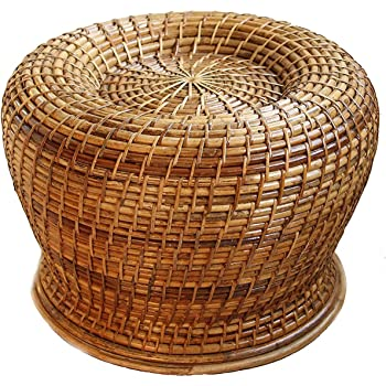 "Northeast Handicrafts Handmade Cane Round Moda Stool (Height 17"" x Width  12""): Amazon.in: Home & Kitchen"