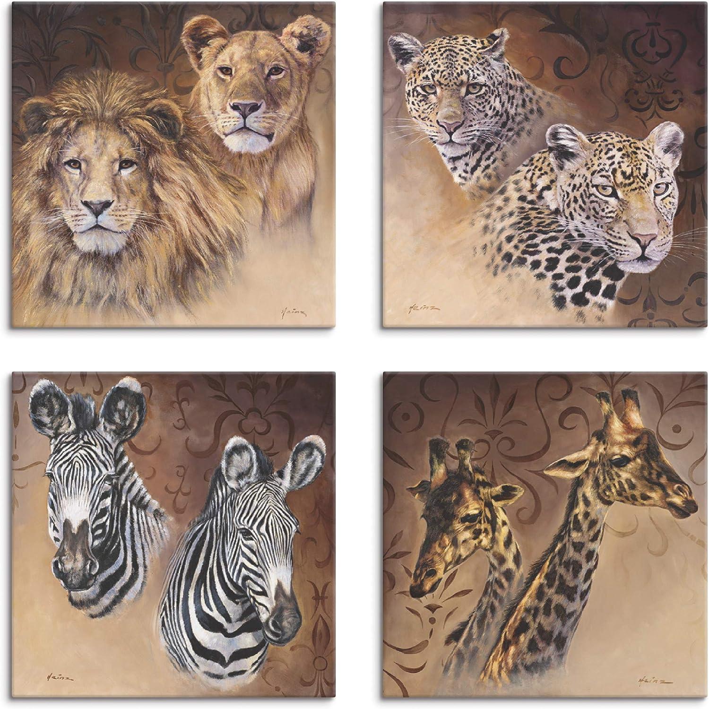 Artland Glasbild Wandbild Glas viele Größen Tiere Löwe Afrika Safari Savanne G3J