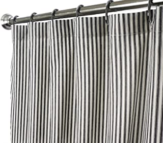 black and white ticking stripe shower curtain