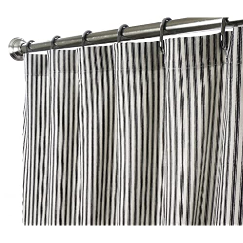 Decorative Things Shower Curtain Unique Fabric Designer Modern Black And White Striped Ticking 72 Inches