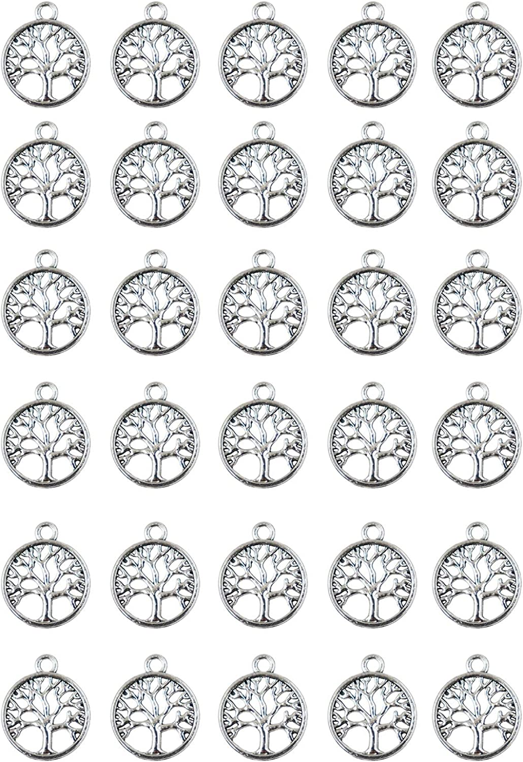 Royee 30 Wholesale Pcs Tree security of Life Beads Pendant Charms Metal Round Antiq