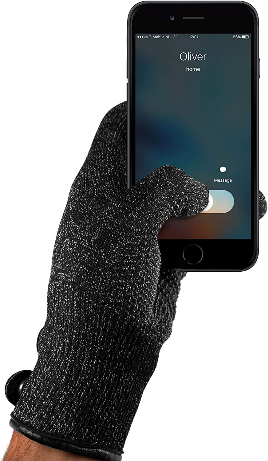 Mujjo Knitted Touch-Screen Winter Leather Gloves   Double Layered Insulation All-Hand Use Anti-Slip Phone Grip for Men Women