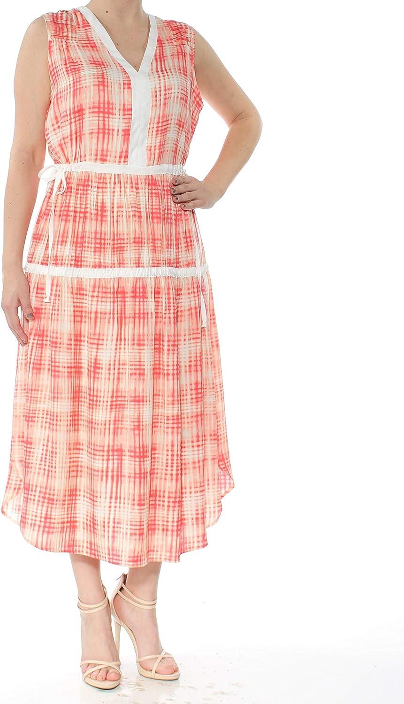 DKNY Womens Sleeveless KneeLength Midi Dress