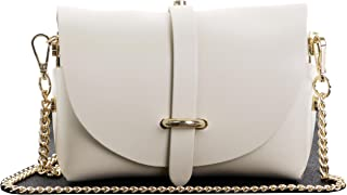 Primo Sacchi® Ladies Italian Smooth Leather Mini Small Micro Shoulder Crossbody Evening Bag With Metal Chain Strap. Includes Branded Protective Dustbag