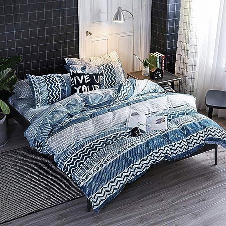 HYPREST Twin Duvet Cover Set - Microfiber Soft Comfortable Durable Blue Duvet Cover Bedding Set