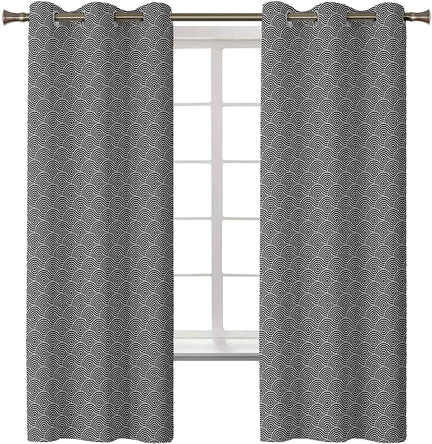 Abstract Sales Blackout Thermal free Curtains Modern Artwork Round Spir of