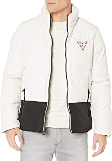 GUESS Men's Color Block Puffer with Large Triangle and Back Logo