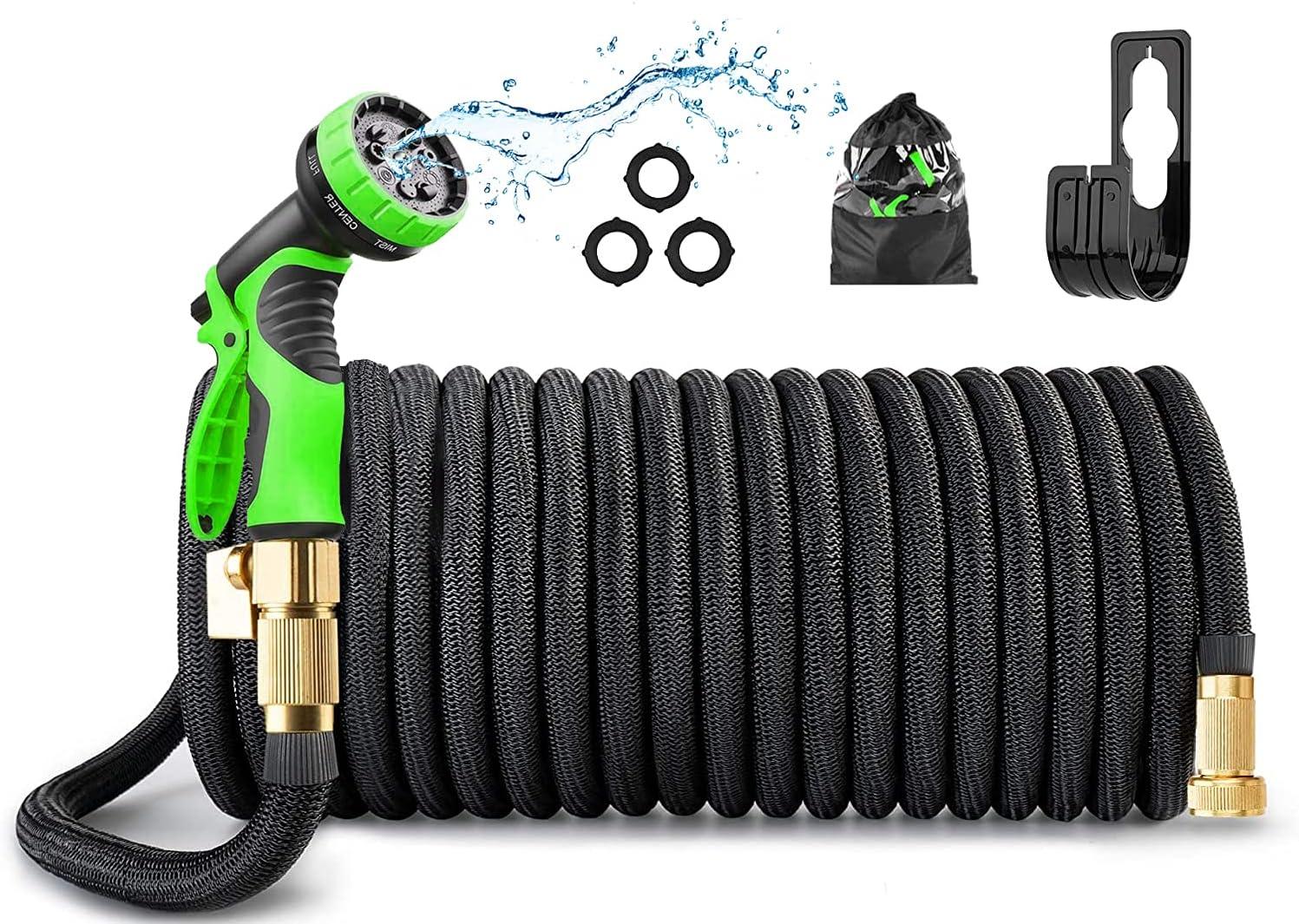 COUAH 50ft Garden Hose,Expandable Garden Hose with 9 Function Nozzle, Leak-proof Lightweight Retractable Hose with 3/4