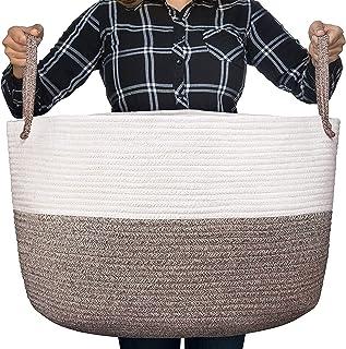Luxury Little Nursery Storage Basket, Size XXXL :: 100% Cotton Rope Hamper with Handles :: Sturdy Baby Bin Organizer for L...