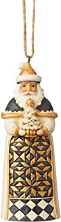 Enesco Jim Shore Heartwood Creek Black and Gold Santa with Tree Ornament