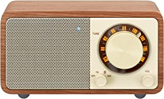 Sangean WR-7WL Wood Cabinet Mini Bluetooth Speaker with FM Tuner and Aux-in Walnut/Wood (Certified Refurbished)