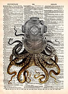 Octopus in a vintage brass diving helmet, cool nautical steampunk art print
