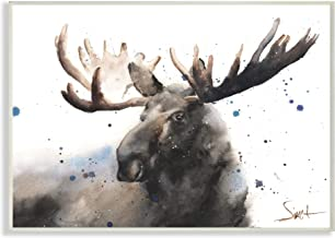 The Stupell Home Décor Collection Majestic Moose Watercolor Painting with Blue Splatter Wall Plaque Art, 13 x 19, Made in ...