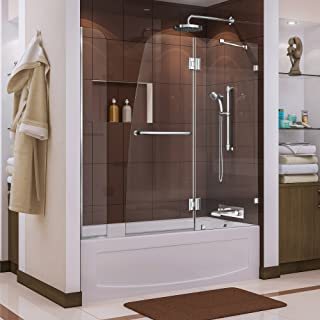 DreamLine Aqua Lux 56-60 in. W x 58 in. H Frameless Hinged Tub Door with Extender Panel in Chrome, SHDR-3348588-EX-01