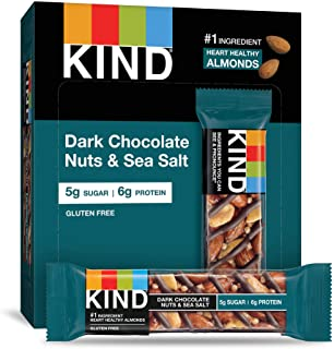 KIND Bars, Dark Chocolate Nuts & Sea Salt, Gluten Free, Low Sugar, 1.4oz, 12 Count