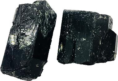 Zungtin 2 PCS Bulk Rough Black Tourmaline Crystals Large Raw Natural Stones Reiki Crystal Healing Wholesale Lot (4-6cm)