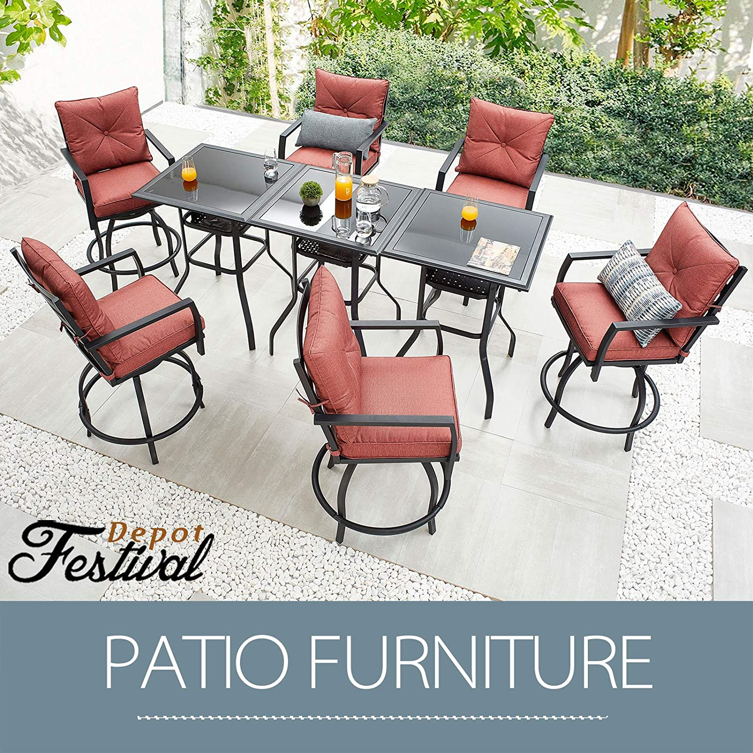Buy Sports Festival Outdoor Furniture Patio Dining Set 10° Swivel ...