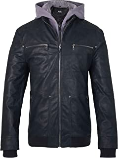 Men's Leather Motorcycle Jacket with Removable Hood